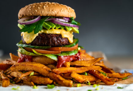 Plant-based burger with sweet potato fries
